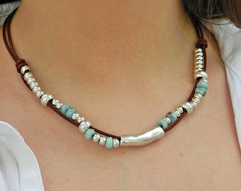 Women leather necklace,leather necklace,beaded necklace,leather cord necklace silver plated,CI005