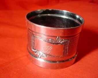 Edwardian Silver Plate Napkin Ring Aesthetic Movement Monogram B