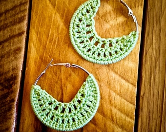 Pale green hoop crochet earrings