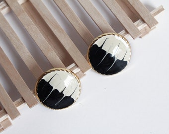 Vintage Gold Round Black and White Post Earrings