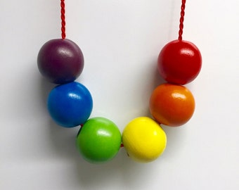 Wooden rainbow bead necklace