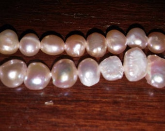Natural pearls peach pearls pink pearls small pearls pastel pink pearls 6x8mm pearls