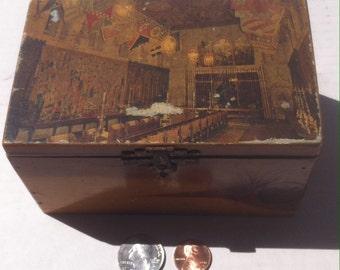 Vintage Wooden Storage Box, Jewelry Box, Stash Box, 5 1/2 x 3 1/2 inches, Vintage Wooden Storage Box