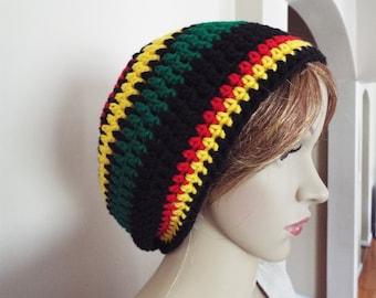small black red gold and green rasta hat, Jamaican rasta hats, colorful rasta tam
