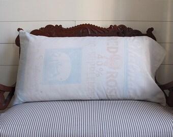 Vintage grain sack pillow cover, fits king size pillows