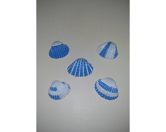 hand painted blue and white seashells.