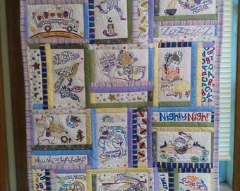 Nursery rhyme embroidery wall hanging/quilt