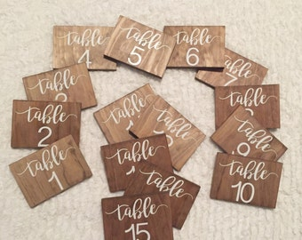 Wooden Numerical Table Numbers (For weddings or events)