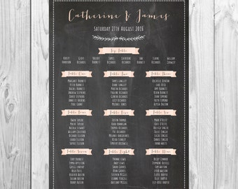 Personalised Wedding Table Plan {Chalkboard} - DIGITAL DOWNLOAD