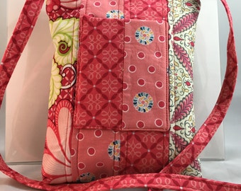Small Crossbody Purse, Perfect for On The Go,  Outside Cellphone Pocket, Fits Mini Tablet, Inside Pocket, Minimal Bag -Pretty In Pink Floral