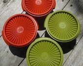 TUPPERWARE COLORED VINTAGE, grandmas containers, kitchen storage, groovy 1970s colors, Harvest Green, orange