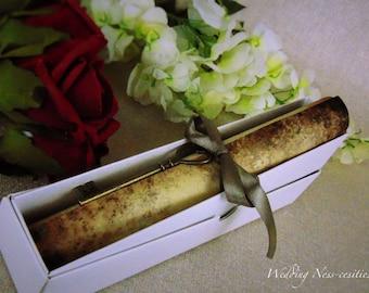 Scroll Wedding Invitation with Silver Ribbon & Key
