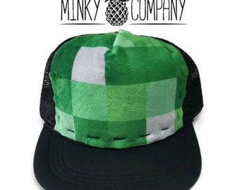 Minecraft Minky Trucker Hat, Adult-Child-Kids-Baby Black SnapBack