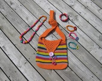 Orange Crochet Messenger Girl's Bag