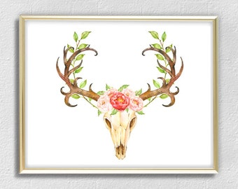 Watercolor cow skull horns bull floral flowers print printable wall art decor home decoration room decor red green brown A3 A4 8 x 11 inch