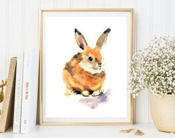 Rabbit Haze Print Watercolor Poster Animals Print Wild Print Home Decor Wall Art Nature Print Art