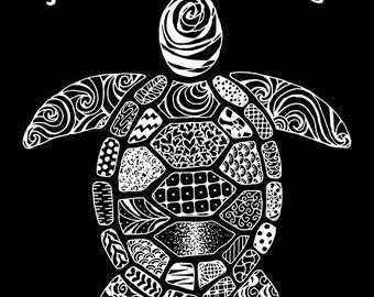 Turtle Just Keep Swimming Zentangle Canvas Wall Art