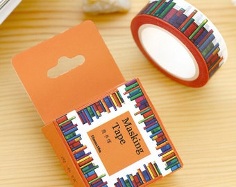 Books Washi Tape / A Colourful Books Design Tape / Gift Wrap, Planner, Crafts, Masking Tape