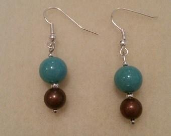 Brown and Blue Drop Earrings