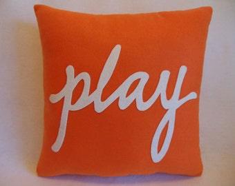 """PLAY Appliqued Decorative 16"""" x 16"""" Pillow ..... p L a Y _ p i l l o w"""