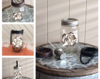 Mason Jar, Hanging Mason Jar, Soap Dispenser, Grid Lid Mason Jar