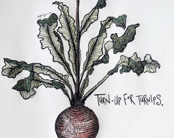 Turn-Up for Turnips Print with Seeds