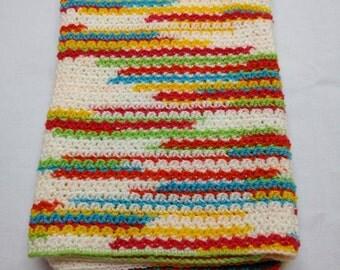 Crocheted Bright Colors Baby Blanket Afghan