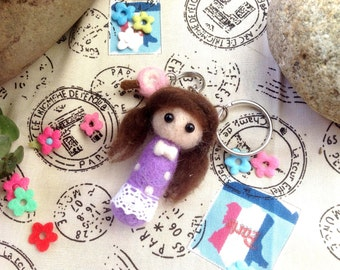 Needle Felted Girl-Violet key chain
