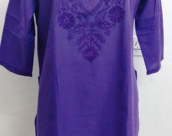 Hand Embroidered Chicken Embroidered Kurti Cotton Women Top Long Tunic Blouse