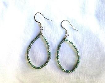 Beaded Teardrop Dangle Earrings (Blue)