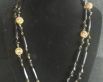 1940's Black Glass & Beaded Necklace