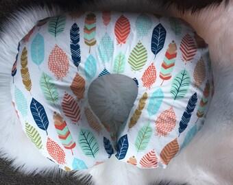 Multicolor Feather Boppy Cover/Boppy Pillow Cover/Nursing Pillow Cover/Boppy Cover Boy/Tribal Print/Boppy Cover Girl