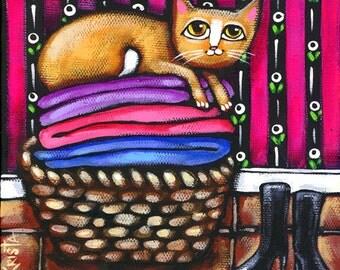 Laundry CAT Folk Art, Folk Art Cat PRINT, cute cat art, whimsical cat art, laundry room decor, cat wall decor by Krista