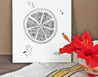 FRESH SQUEEZED  - Hand Drawn, Pen and Ink, Art Print, illustration, Wall art, Kids Room Art