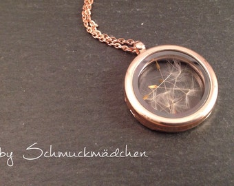 Rose gold locket necklace flower
