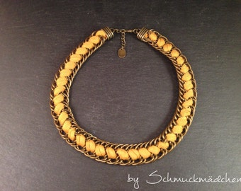 Statement necklace bronze yellow