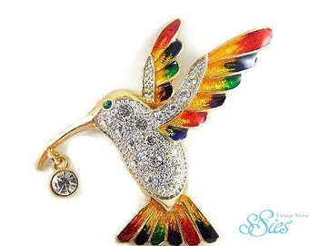 Colorful large enamel and rhinestone Hummingbird brooch