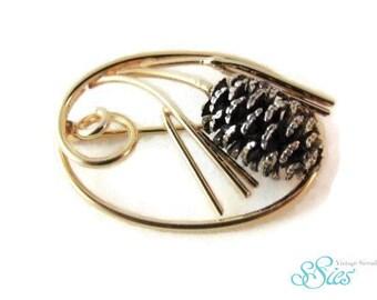 ALICE CAVINESS collectors item silver 12 KGf Pine Cone brooch