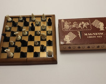 Vintage MAGNETIC CHESS SET, Vintage Chess Board, 1970's Chess set, Vintage Board Games, Vintage Games, Vintage Toys