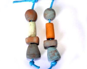 Mixed Stonewear Handmade Beads, Geometrical Beads, Earrings Mixed Ceramic Beads, Blue, Brown Yellow Ceramic Beads, Boho, Rustic  Beads