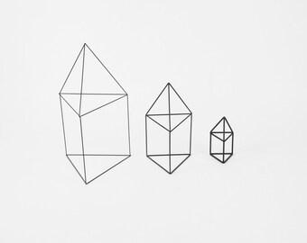 Triangular Houses Set of 3 - Handmade Wireframe Decor - JY DesignLab