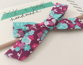 The Schoolgirl Bow // Teal and Pink Floral // Headband or Hair Clip
