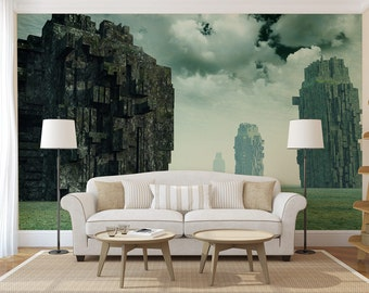 Fantasy Rocks MURAL, self adhesive wallpaper mural, peel and stick photography wall mural, wall covering, sticker