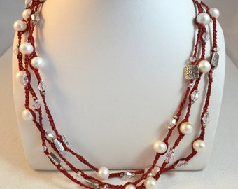 Beautiful red silver and white pearl layered necklace