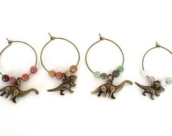 Dinosaur Wine Glass Charms - Set of Four