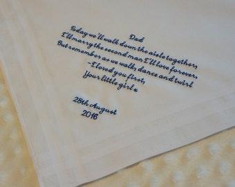 Wedding Handkerchief, Father of the Bride Handkerchief, Personalised Embroidered Handkerchief, Hanky, Wedding Gift. Wedding Hankerchief