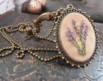 Lavender Embroidered Frame Necklace in Antique Bronze