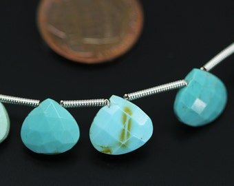 Arizona Blue Turquoise Faceted Heart Drop Loose Beads Strand - 8 inches - 7 MM - 10 MM - Jewelry Making