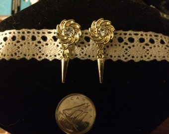 Gold Flower and Spike earrings, Nickel Free posts with plastic metal look spikes and flowers.