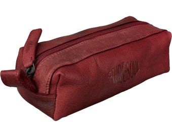 Case Pencase Schlamper roller pens, retro style leather Red